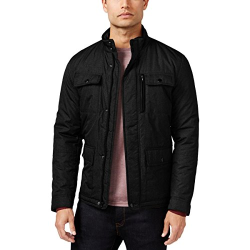 Alfani Mens Faux Leather Trim Front Pockets Windbreaker Jacket Black (Alfani Jacket)
