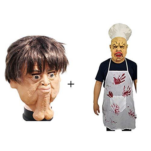 NDGT Latex Head Mask-Creepy Scary Horror Novelty Mask