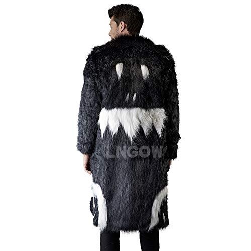 LNGOW Faux Fur Outerwear Men Fluffy Fashion Coat Winter Warm Overcoat Long Sleeve Jacket (Black-White,S)