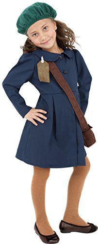 [Smiffy's World War II Evacuee Girl Costume, Dress, Hat and Bag, Ages 7-9, Size: Medium, Color: Blue,] (All Costumes For Girls)