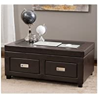 Lift Top Coffee Table Black Espresso with Drawers Leather Cocktail Storage