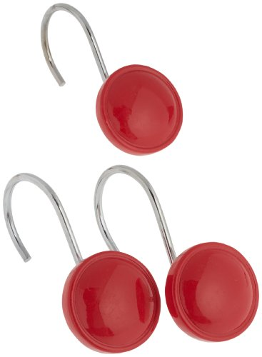 Red Resin (Carnation Home Fashions Color Rounds Ceramic Resin Shower Curtain Hook, Red)