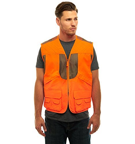TrailCrest Mens Blaze Orange Safety Deluxe Front Loader Vest, Large ()