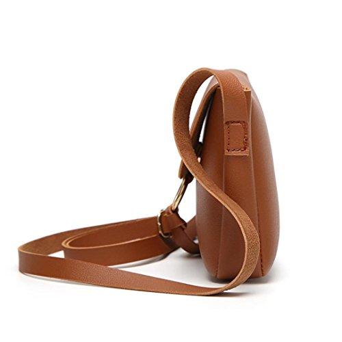 Teen Handbags for Cross Shoulder X Casual Bag Girls Bags Leather Fashionable Body by Women TOPUNDER Brown Mini 0PwvqTy