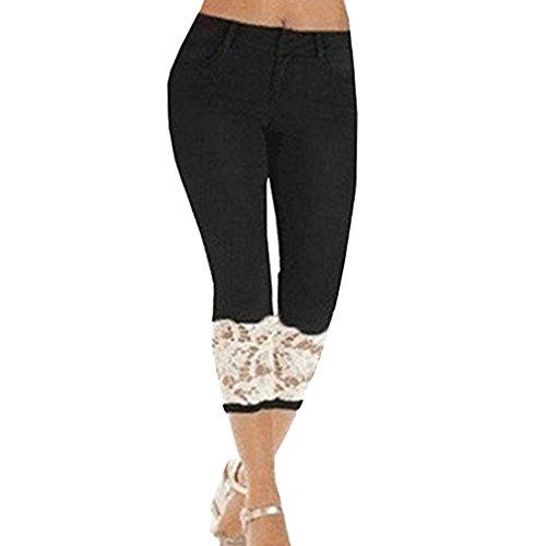 Cheyuan Les Femmes d't Mode Creux Dentelle Pantalons Slim mi Taille mi-Longueur Jeans Recadre S-2XL Noir