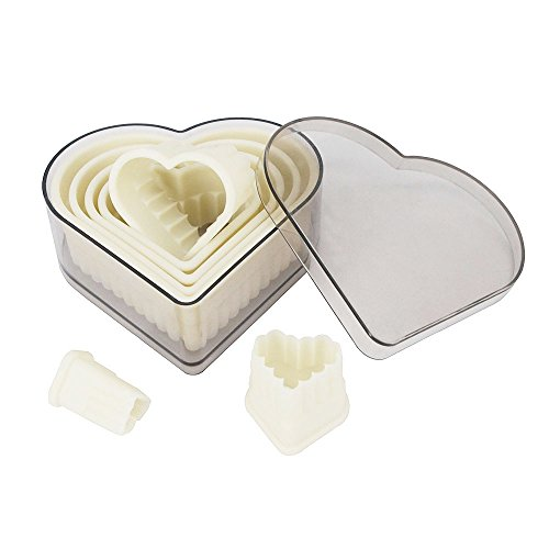 Heart Fluted Shape (Fluted Heart Cookie Cutter Set 7 Pieces Nylon Biscuit Cutter Set Pastry Cutters with Plastic Case for Sandwich, Candy, Cookie, Fondant, Muffin, Cake, Dough, Donut)