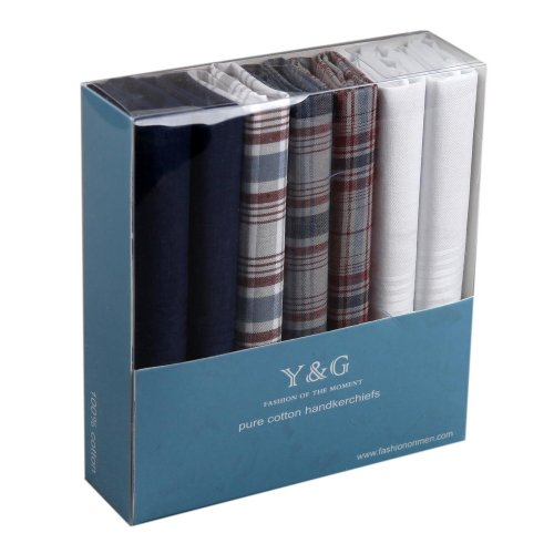 Discount Gift Idea 7 Pack Hankies Mens Cotton With Presentation Box MH1029 One Size Blue by Y&G