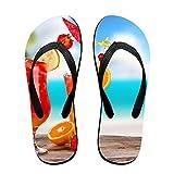 Couple Slipper Summer Drinks Print Flip Flops Unisex Chic Sandals Rubber Non-Slip House Thong Slippers