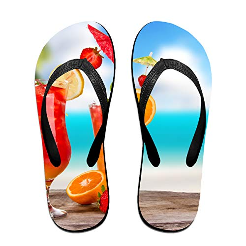 Couple Slipper Summer Drinks Print Flip Flops Unisex Chic Sandals Rubber Non-Slip House Thong Slippers by Lojaon