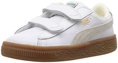 PUMA Baby Basket Classic Gum Deluxe Velcro Sneaker, White, 4 M US ()