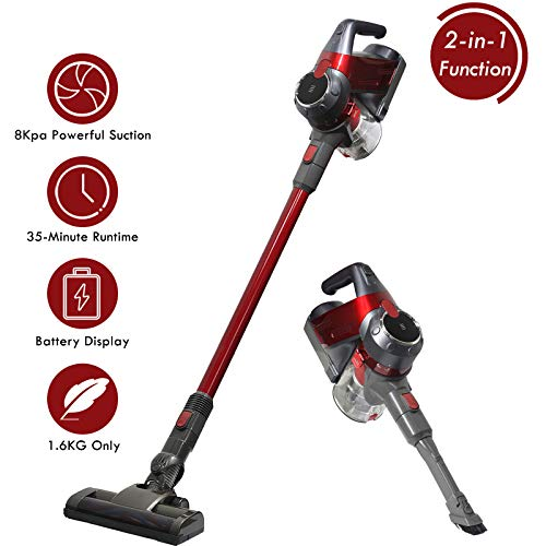 SU-VAC Stick Vacuum Cleaner, 8000pa Powerful Suction Cordless Vacuum Cleaner, 2 in 1 Lightweight Rechargeable Bagless and Handheld Vacuum with Wall Mount for Carpet/Hardwood Floor/Pet Hair