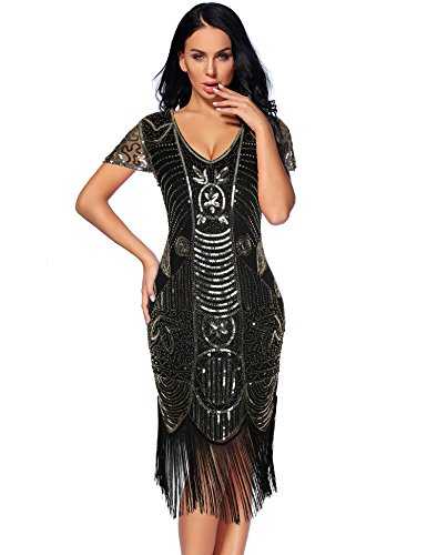 Flapper Girl 1920s Gatsby Flapper Dresses Sleeves Sequin Art Deco Cocktail Dress (Glam Gold, M) ()
