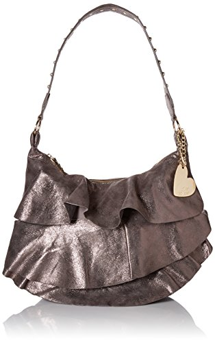 Betsey Johnson Just for the Frill of It Hobo, Pewter (Johnson Betsey Hobo)