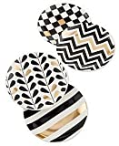 Macy's 4 Pc Plate Set - White, Gold, Black Design