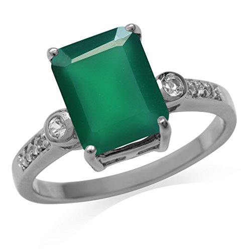 3.19ct. Natural Emerald Green Agate & White Topaz Gold Plated 925 Sterling Silver Ring Size 9