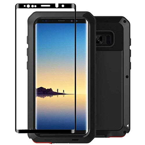 Galaxy Note 8 Case,Tomplus Armor Tank Aluminum Metal Shockproof Military Heavy Duty Protector Cover Hard Case for Samsung Galaxy Note 8 (Black) ()