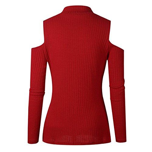 Tops Tricot Femme Longues Legendaryman Manches Pulls paule Couleur Haut Slim Chemisiers Sweaters Casual Fashion Col Unie Shirts Chandail Dnude Rouge apxpSqZ