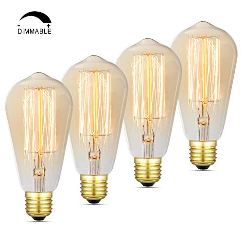 (Dimmable Vintage 60 Watt Edison Light Bulb, Amber Warm Glow, Clear Glass Squirrel Cage Filament Light Bulb, E26 Medium Base, Pack of 4)
