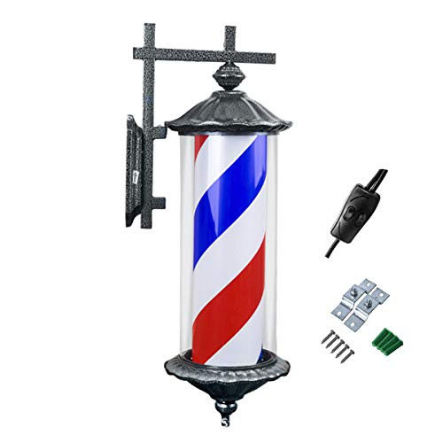 (LED Barber Pole Light,Hair Rotating Light Hair Salon Sign Light Retro LED Roman Style Outdoor Light Barber Shop Waterproof and Durable,Red&Blue&White)