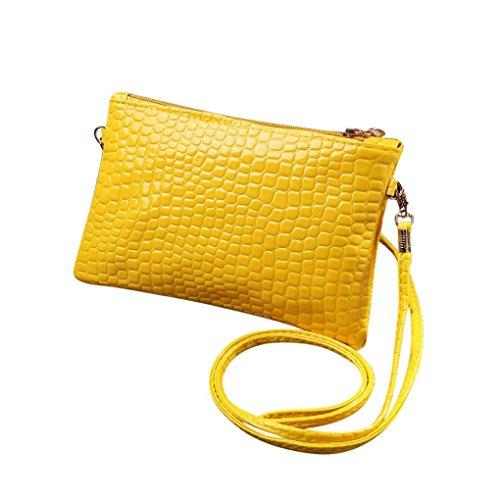 Muium Women Ladies Solid Crocodile Pattern Crossbody Bag Fashion Leather Handbag Shoulder Bag Yellow