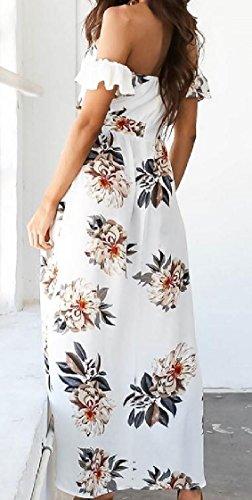 Coolred-femmes Face Imprimée Fente De Robes De Soirée Sexy Poitrine Enveloppée D'épaule Blanche