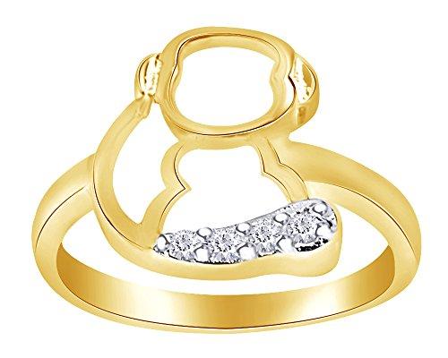 (wishrocks White CZ Cute Animal Monkey Design Ring in 14K Gold Over Sterling Silver)