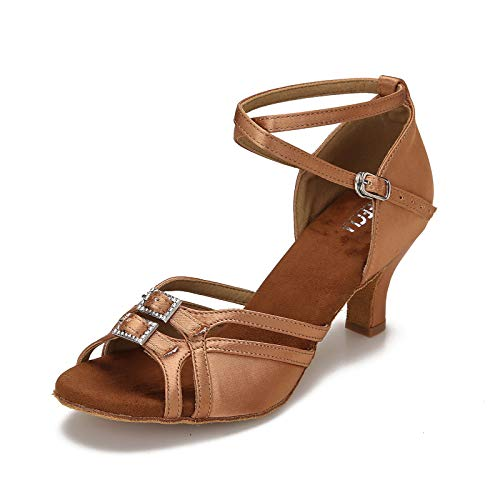 CLEECLI Women's Ballroom Salsa Latin Dance Shoes Adjustable Forefoot Desingn 2.5