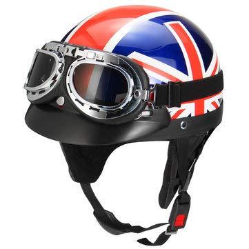 Retro UK Flag Motorcycle Half Face Helmet Biker Scooter With Sun Visor UV Goggles Cafe Racer - Motorcycle Motorcycle Helmet