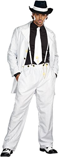Dreamgirl Men's Zoot Suit Riot Costume, White/Black, Xx-Large