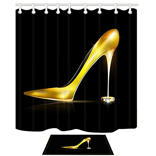 NHMQ Girl Shower Curtain, Golden High Heels Shoes for Fashion Girly on Black,69X70in Mildew Resistant Polyester Fabric Bathroom Curtain Set with 15.7x23.6in Flannel Non-Slip Floor Doormat Bath Rugs -
