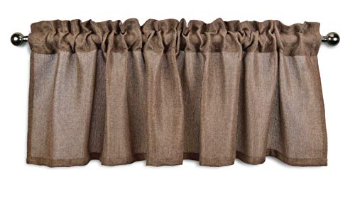 Toile Valance Brown - Aiking Home Pure 100% Faux Linen Window Valance - Size 56 inch x 16 inch, Brown