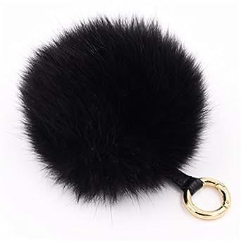 Dikoaina Large Faux Fur Pom Pom Keychain Bag Charm Fluffy Fox Fur Ball