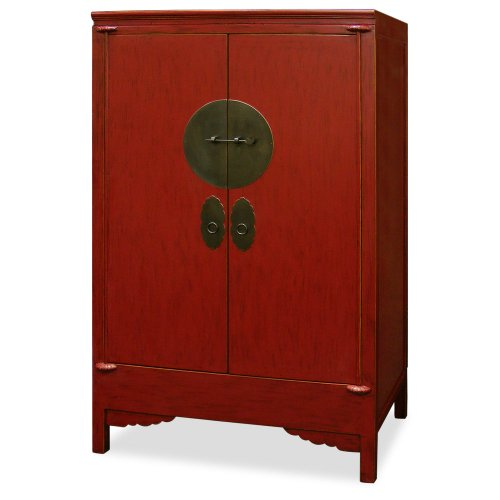 China Furniture Online Elmwood Armoire, Ming Style Wedding Cabinet Red