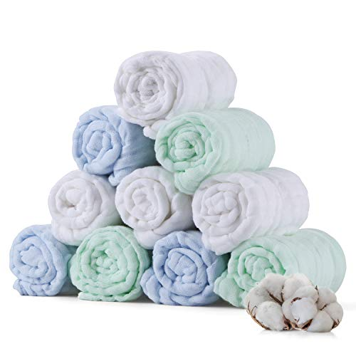 Baby Muslin Cotton Washcloths Set 10 Pack - Natural Muslin Cotton Baby Wipes, Soft Newborn Baby Face Towel, Baby Registry as Shower Gift (Blue-Green-White) (Blue-Green-White)