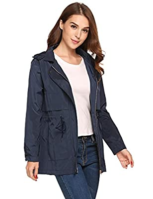 Zeagoo Women Waterproof Lightweight Rain Jacket Anorak Active Outdoor Hoodie Coats
