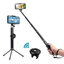 自撮り棒 GLISTENY Bluetooth セルカ棒 無線 軽量 シャッターボタン 三脚付き 270度回転 リモートシャッター iPhone X iPhone8 iPhone7 iPhone 6s Android GoPro カメラ 対応 (ブラック)