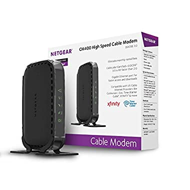NETGEAR DOCSIS 3.0 340Mbps Cable Modem for XFINITY, Time Warner Cable, Cox, Charter, Cablevision(CM400-1AZNAS)