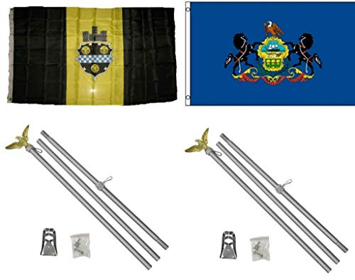 ALBATROS 3 ft x 5 ft City Pittsburgh with State Pennsylvania Flag with 2 Aluminum with Pole Kit Sets for Home and Parades, Official Party, All Weather Indoors Outdoors