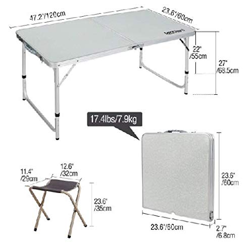 Table & Chair Sets Folding Camping Table with Chairs Adjustable Portable Picnic BBQ Table Large with 4 Stools by R-camp (Image #2)