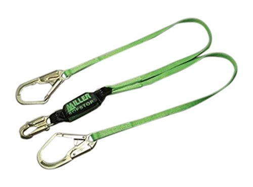 Honeywell 8798TR-Z7/6FTG Miller Two Leg HP Lanyard with SofStop Shock Absorber with 1 Locking Snap Hook, 2 2 1/2 Locking Rebar Hooks, 6', Green by Honeywell B005H1IEBY