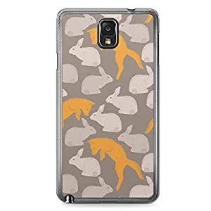 Rabbit Fox Pattern Samsung Galaxy Note 3 Transparent Edge Case - Animal Patters Collection