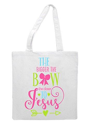 Bow To Tote The Bag Bigger Jesus White Closer Statement Shopper ATqHx1q