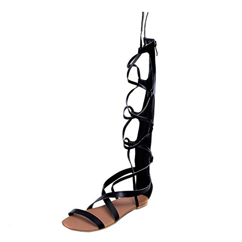 COOLCEPT Hot Sale Moda Mujer Cordones Knee High Gladiator Tacon de Vaquero Sandalias with Cremalleras 1172 Negro