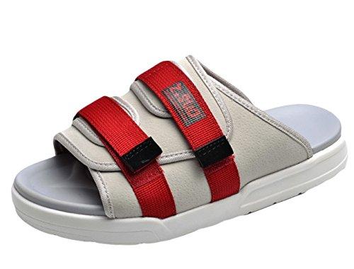 Insun Unisex Erwachsene Pantoffeln Flache Hausschuhe Komfort Sandalen Beige Rot