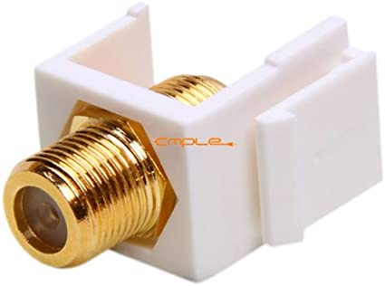 LOT of 2 F-type Keystone Jack Modular F Type White Gold Plated White Jack