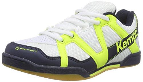 Kempa TEAM, Unisex-Erwachsene Handballschuhe, Mehrfarbig (weiß/fluo gelb/marine), 42 EU