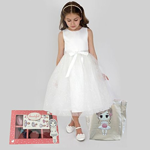 FLOWER Girl Wedding Birthday Christmas Favors Gift Tote Bag Cotton with Beautiful Wood Trinket Box full of toys favors girls jewelry headbands by Global Huntress (Image #1)