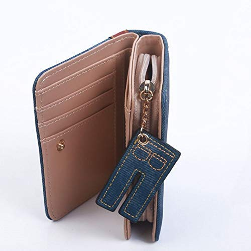 Portafoglio Short Navy Denim Blu Clutch Wild Portafoglio Imitation Lady Pu Zipper Purse Personality Marrone colore Navy Leather colore Blu Casual Bag Envelope wx4Iz