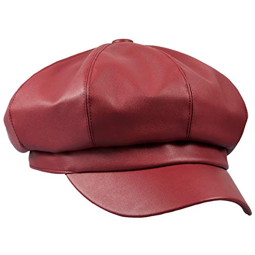 moonsix Newsboy Hat,Plain Cabbie Visor Beret Gatsby Ivy Caps for Women,Red(PU Leather Style 2) ()