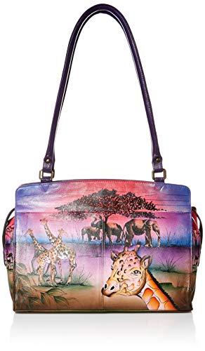 Anna by Anuschka Genuine Leather Large Satchel Shoulder Bag | Hand-Painted Original Artwork | Serengeti Sunset